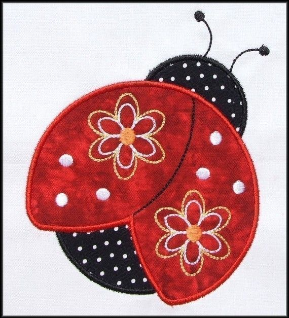 Pretty Ladybug  Applique and Fill designs. Love the colors.