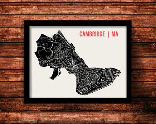 Cambridge Map Art Print by Mr City Printing