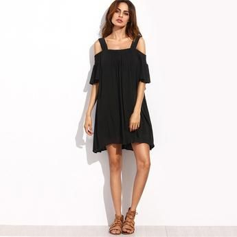 Cold Shoulder Ruffle Short Sleeve Straight Dress - WILD BILLY   Online Shopping, Fashion