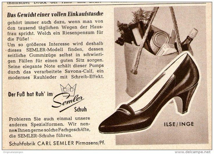 Original-Werbung/ Anzeige 1958 - SEMLER SCHUH / CARL SEMLER PIRMASENS - ca. 120 x 80 mm