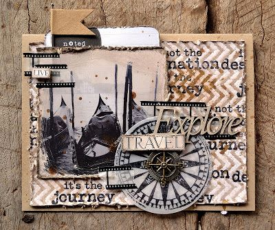 Card by Belinda Spencer using Darkroom Door 'Compass' Eclectic Stamp DDES003, Venetian Photochips DDPC001 & Chevron Background Stamp DDBS020.