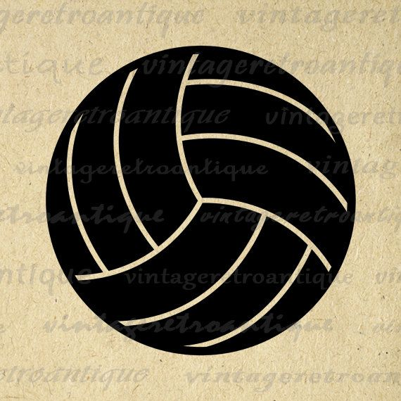 Digital Printable Volleyball Image Sports Graphic Volleyball Download Vintage Clip Art for Transfers Making Prints etc HQ 300dpi No.4541
