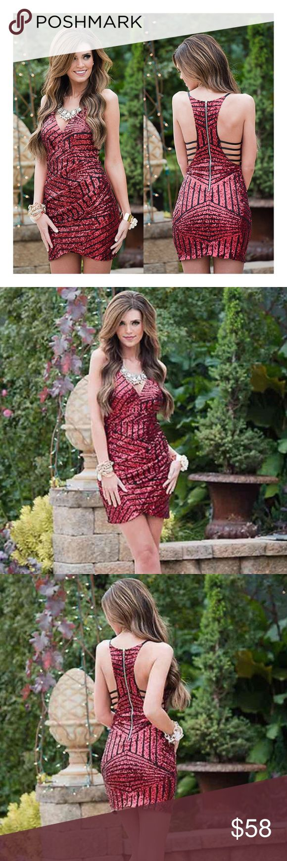 Stunning red sequin dress MODEL IS WEARING THE EXACT PRODUCT    I own an online boutique called Danalli, most of what we sell are brands/items you'll find at stores such as Nasty Gal, Urban Outfitters, Nordstrom, ASOS, PacSun, etc. just at more affordable prices   Any questions? Don't hesitate to ask  Dresses Mini