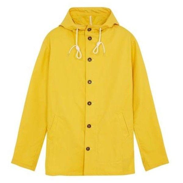 Mens Waterproof Rain Jacket Yellow Fiskur Mac ($155) ❤ liked on Polyvore featuring men's fashion, men's clothing, men's outerwear, men's jackets, mens lightweight cotton jacket, mens jackets, mens lightweight waterproof jacket, mens waterproof jacket and mens yellow suit jacket