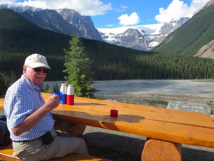David Stanley has a coffee at the Stutfield Glacier Viewpoint on the Icefields Parkway in Jasper National Park, Alberta, Canada.
