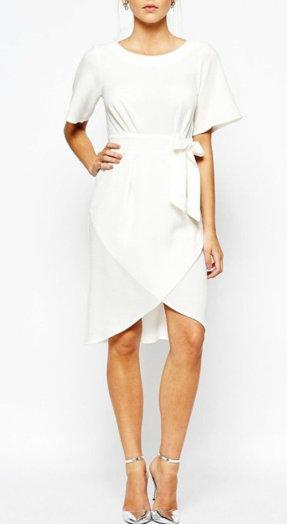 Simple Casual Knee Length Wedding Dress For Older Brides