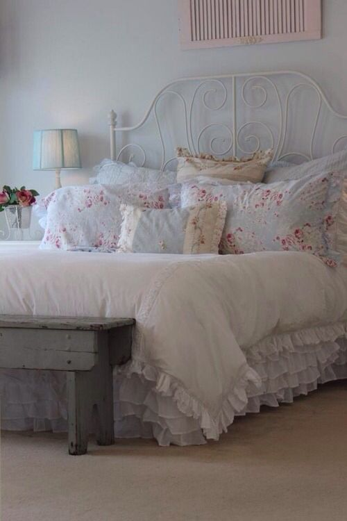 shabby chic bedroom...LOVE the pink shutter above the bed!
