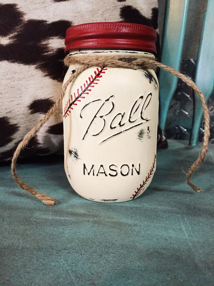 """Love how my Mason Jar """"Baseball"""" Piggy Bank turned out can't wait to send it to my etsy order customer in the mail! love it!!! proud of myself"""