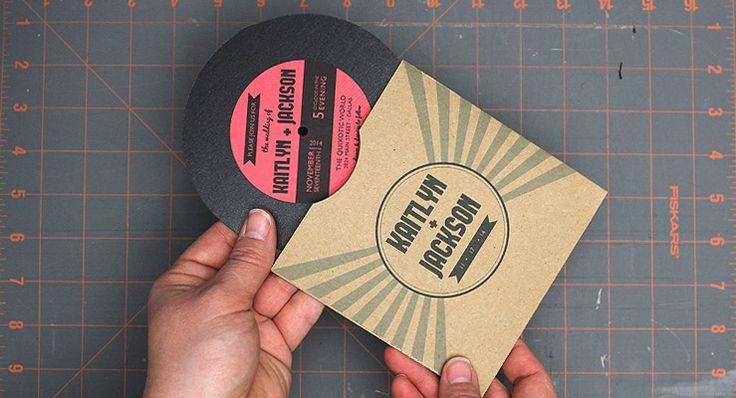 TUTORIAL: DIY vinyl record wedding invitation