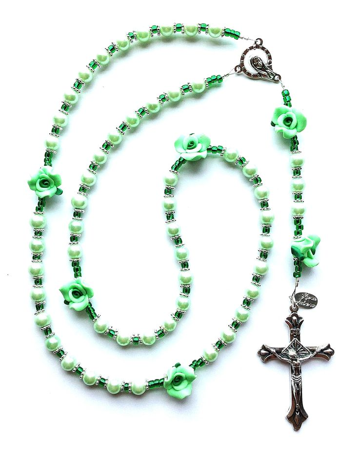 Mint Green Pearl Flower Rosary