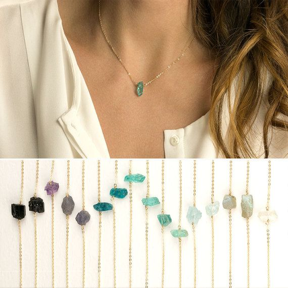 Raw Crystal Necklace / 14k Gold fill or Sterling Chain / Minimal Crystal Necklace / Rough Cut Gemstone Necklace by Layered and Long LN606
