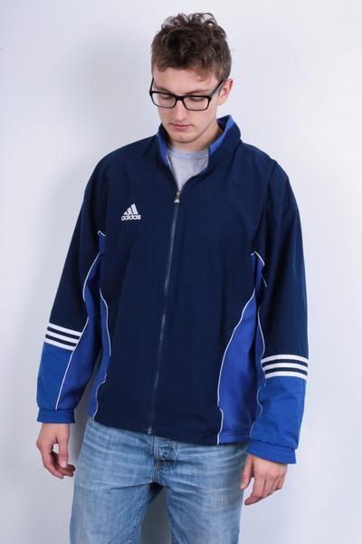 Adidas Mens 42/44 Sweatshirt Navy Blue Full Zipper Jacket Tracksuit Sportswear - RetrospectClothes