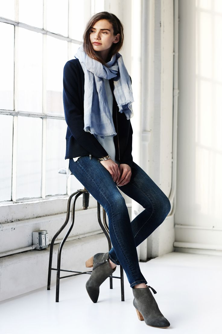 Winter staples. Pair the indigo skinny jean from Banana Republic with a blazer + scarf for an effortless daytime look.
