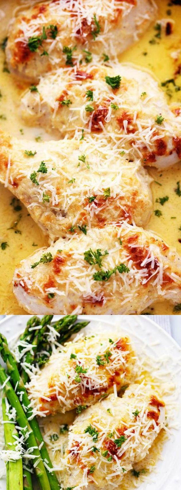 This amazingly delicious Creamy Baked Asiago Chicken from The Recipe Critic comes together quickly and will become a new family favorite dinner recipe! The asiago cheese sauce tastes amazing and even the pickiest of eaters will lick their plates clean.