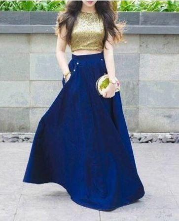 blu gonna camicia d'oro scuroelettricocome a lungablu una Completo blu combinare iXkZPTOu