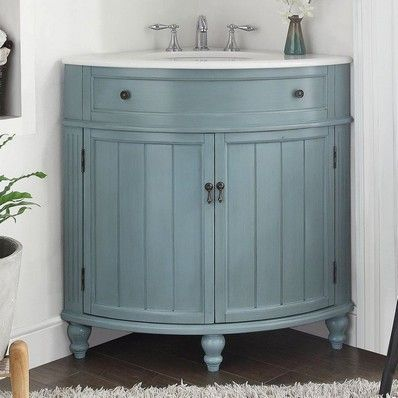 adelina 24 inch corner antique bathroom vanity light blue finish no assembly required white marble counter top white porcelain sink