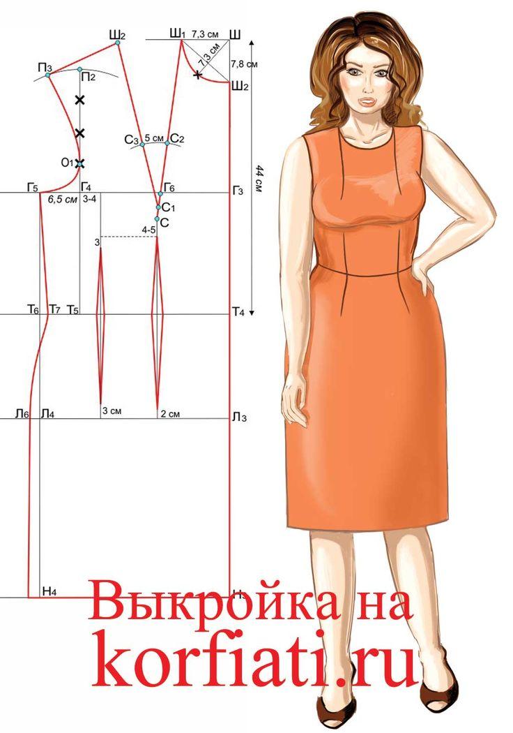 Выкройка платья на большой размер. Подробное построение выкройки-основы платья/блузки на большой размер – для женщин с красивыми рубенсовскими формами.
