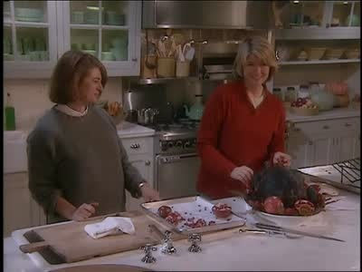 Martha Stewart and her friend, Jane Heller, create an innovative black turkey basting paste made from cloves, cayenne and dried mustard. They roast the turkey and present the turkey with blackened skin hiding the golden brown skin underneath.