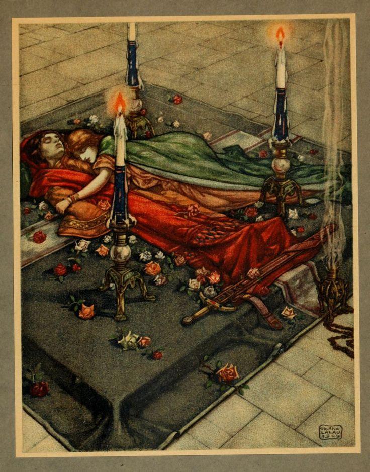 Le Roman de Tristan et Iseut illustré par Maurice Lalau  elle est morte à côté de lui de douleur
