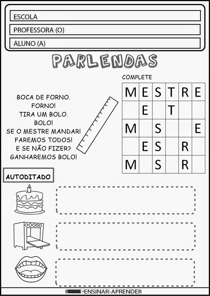 PARLENDA BOCA DE FORNO