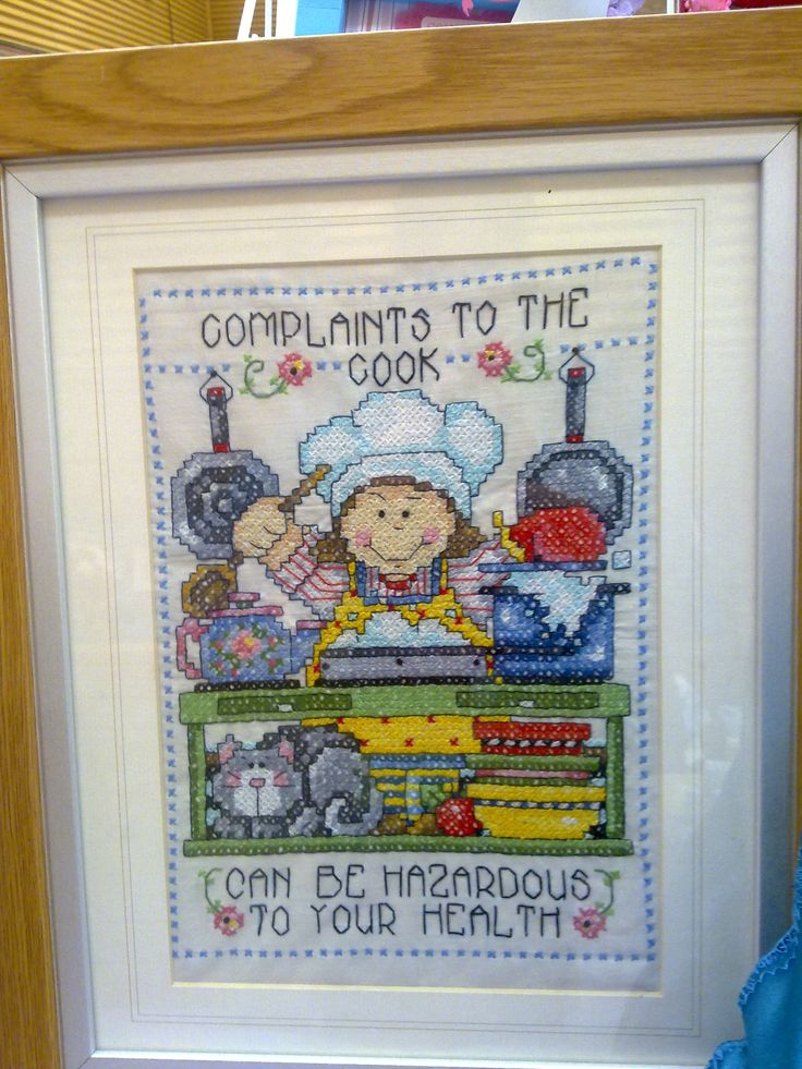 complaints to the chef may be hazardous to your health!! cross stitched funny slogan.