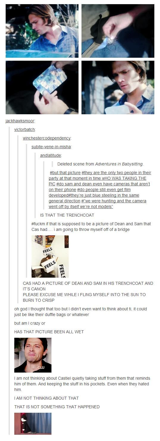 If it was wet that means he still had the picture when he went crazy, and when he died!!!!! Cas!!!!!!!!!!!!!!!