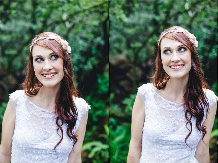 Beautifully lacy and whimsical. Tanja in her Joss Bridal original.