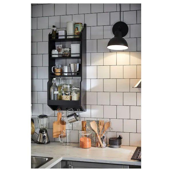 Best Vadholma Wall Shelf Black In 2020 Kitchen Wall Shelves 640 x 480