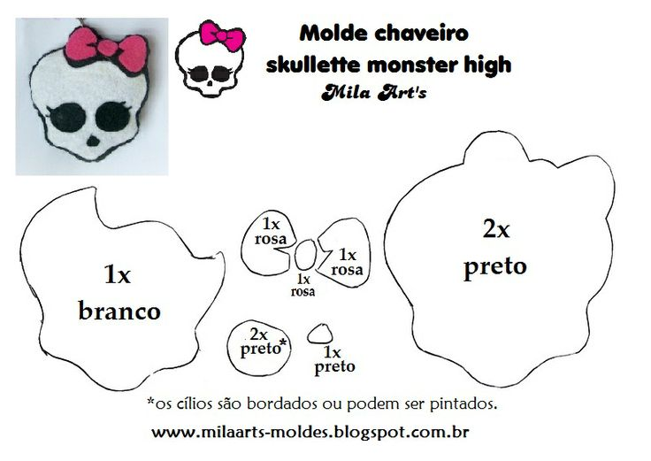 Mila Arts - moldes e PAP: Molde - Skullette Monster High em feltro