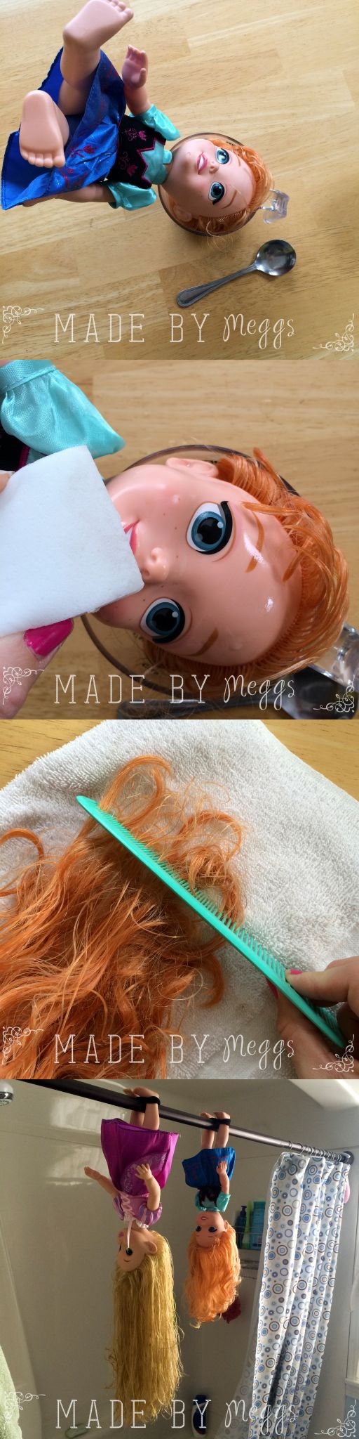 {DIY} Quick Fix for Tangled Doll Hair - More at MadeByMeggsDOTcom 12                                                                                                                                                      More