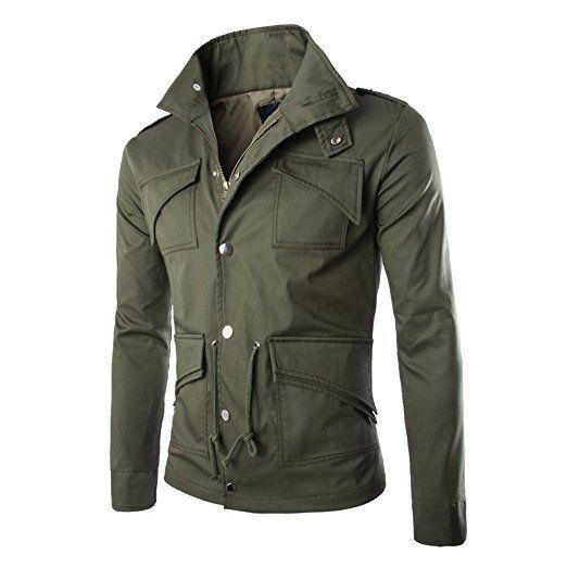 West See Herren Männer Jacke Militär Freizeitjacken Feldjacke Mantel Herrenjacke (EU S(Herstellergrößer M), Grün)