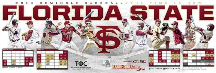 Florida State Baseball Schedule Poster 2014