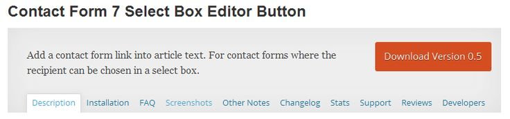 Contact Form 7 Select Box Editor Button - Add a contact form link into article text. For contact forms where the recipient can be chosen in a select box.