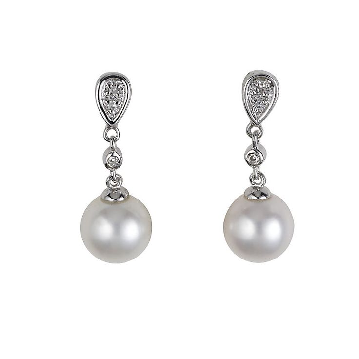9ct white gold cultured freshwater pearl diamond earrings - Product number 5569222