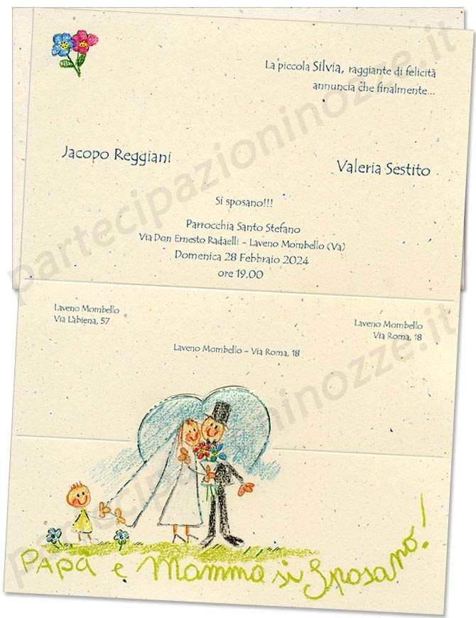 """Art. 110.700 - Cartoncino in carta coriandoli con stampa spiritosa """"Mamma e Papà si sposano"""" e contorni dorati."""
