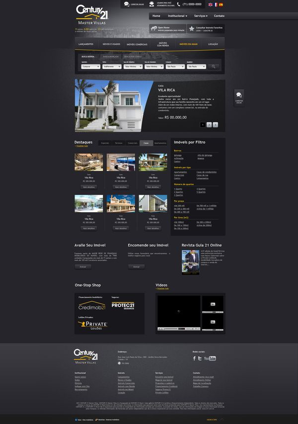 Century 21 - Master Villas by Jonatas Lopes, via Behance. I wouldn't go this dark personally....unless it was strictly high end homes.. But this is fantastic