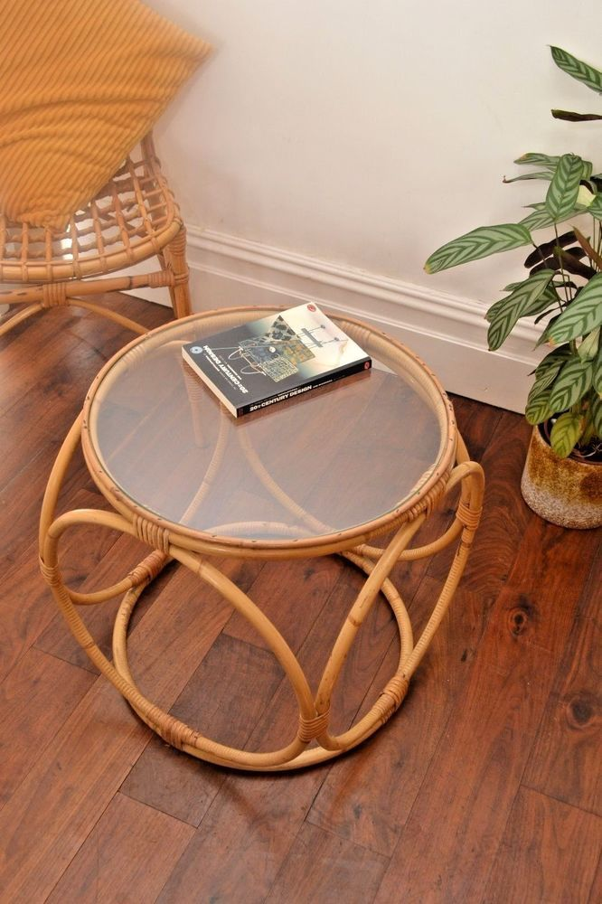 Stylish 70s Vintage Boho Bamboo Occasional Table Coffee Table Side