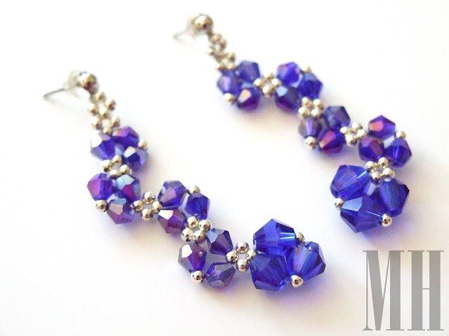 Niebieskie kolczyki z kryształków bicones. | MH Biżuteria - cuda ręcznie wykonane