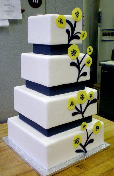 Black Yellow Square Wedding Cakes Photos & Pictures - WeddingWire.com
