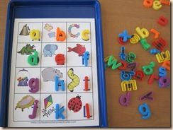 Magnetic Letter Matching, lady bug rock, etc.