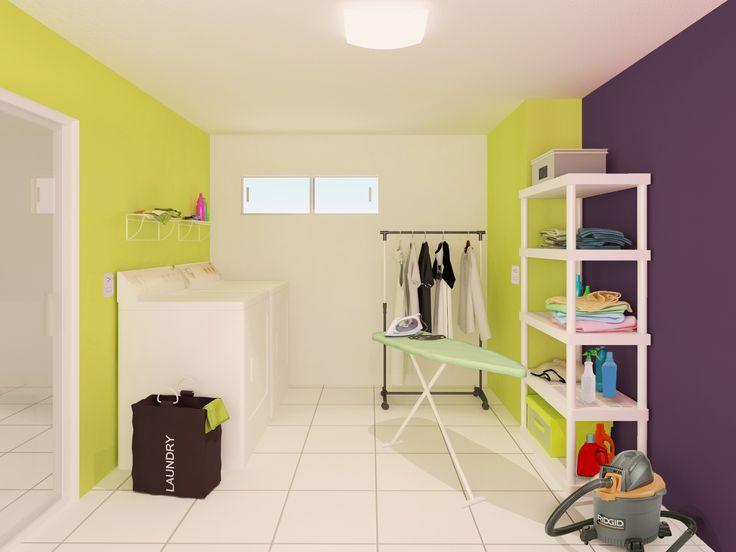 Usar estantes dentro del cuarto de lavado siempre es una buena idea.