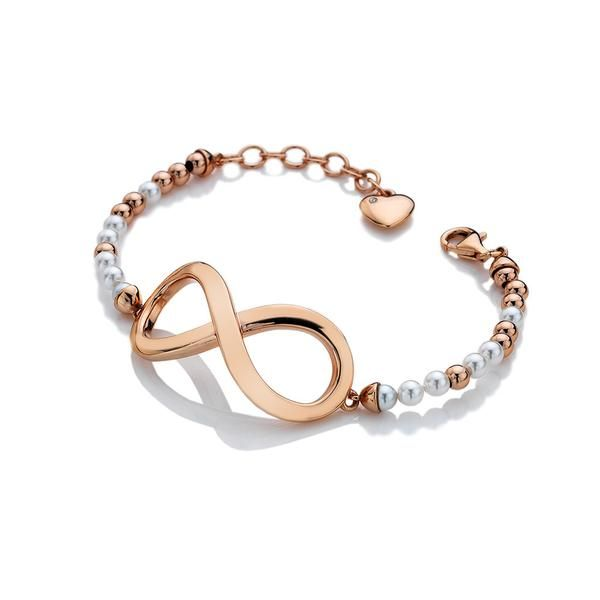 Looking for a contemporary uplift to your jewellery collection? A stylish infinity symbol, measuring 43mm across, is married with a bead and pearl bracelet craf