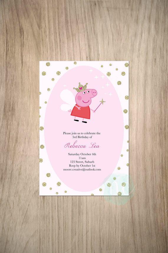 Peppa Pig Printable Birthday Decorations ~ Girls peppa pig invitation diy printable