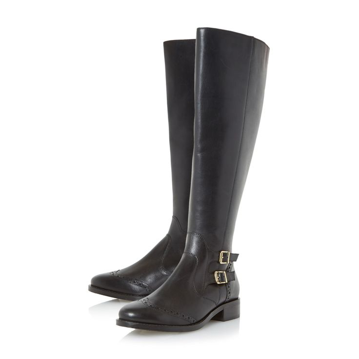 Linea Tiesto Brogue Detail Leather Knee High Boots