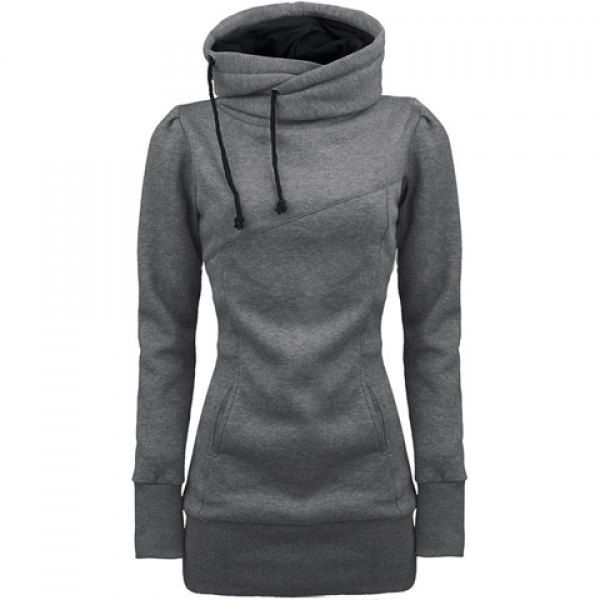 Long Sleeves Hooded Draw String Pockets Beam Waist Korean Style Casual Women's Hoodie, GRAY, M in Sweatshirts & Hoodies | DressLily.com