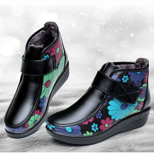 Boots Women Winter Leather Flower Keep Warm Outdoor Ankle Boots