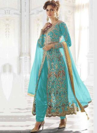 Sky Blue  Embroidery Work Net Japan Crepe Santoon Wedding Designer Patiala Suit http://www.angelnx.com/Salwar-Kameez/Patiala-Suits