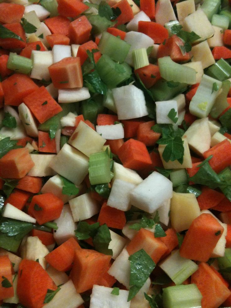 Fresh chopped Sou mix at Essendon Fruit Supply - carrots, parsnips, celery, swede, turnips and parsley