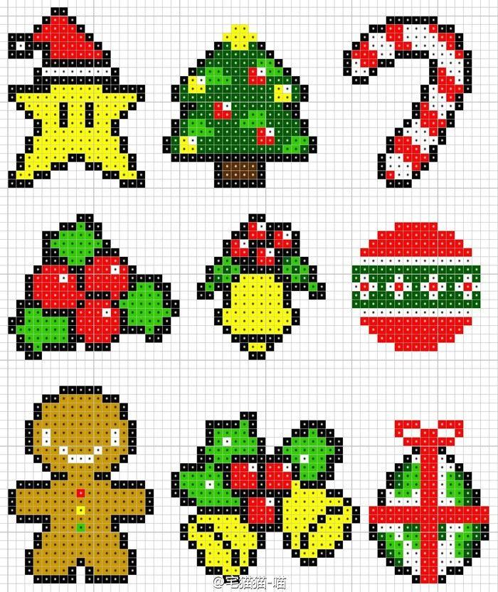 【宅猫猫·像素拼豆图纸·圣诞系列】强迫症使然,我又把喜欢的圣诞图点成统一风格了,感谢各路大神分享的原作,小女纸兴奋的拼了一堆堆~圣诞即将来临了,赶紧用豆豆造棵美美的圣诞树吧!