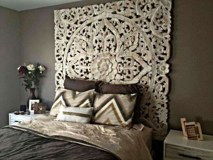 Beautiful Wooden Lattice Headboard Dark Gray Walls Asian Home Decor Headboards For Beds Home Decor